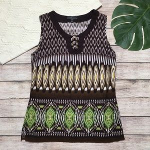 3/$30 Elementz Tribal Brown & Green Sleeveless Top
